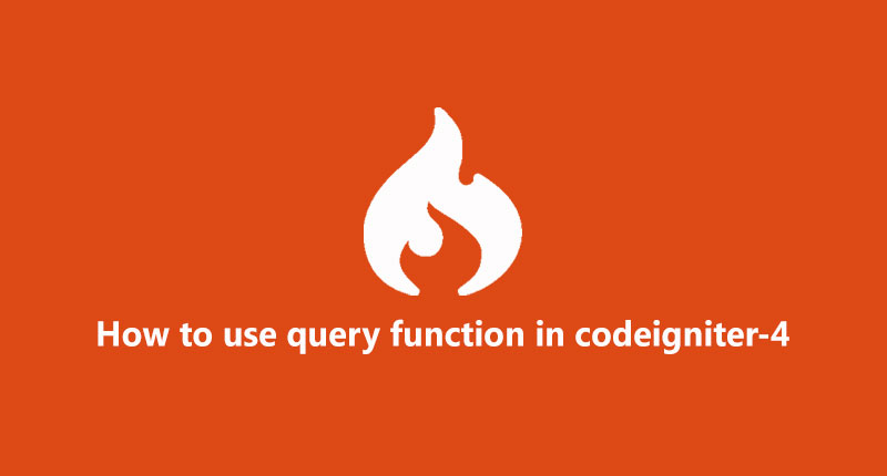 How to use database query in codeigniter 4